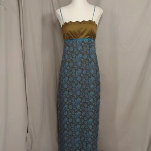 Shelli Segal Silk Maxi Dress 12 Paisley Sleeveless